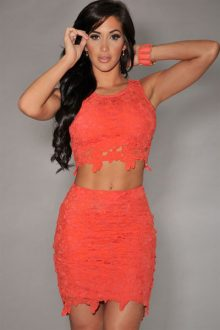 Orange Graceful Sexy Skirt Set