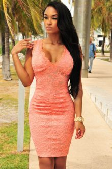 Peach Lace Ruched