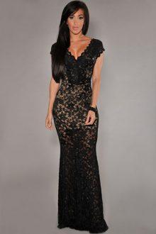 Black Lace Nude Illusion Dress