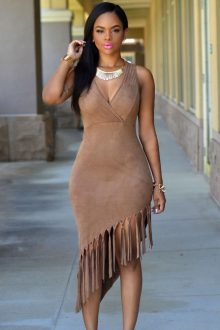 Brown Faux Suede Fringe Dress