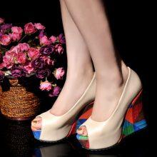 Beige Chunky High Heels
