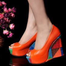 Orange Chunky Heels