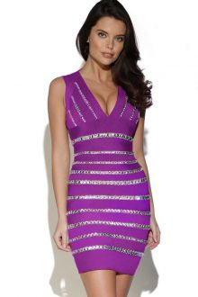 Crystals Embellished Purple Dress