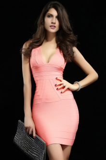 Pink Ribbed V neck Party Bandage Dress