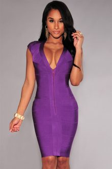Purple Front Zipper Bandage Dress