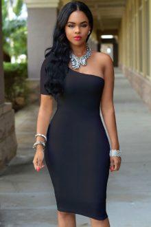 Black One Shoulder Bodycon Knee Length