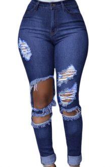 Blue Wash Destroyed Jeans