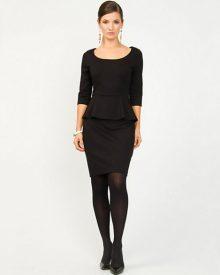 Ponte Black Peplum Cocktail Dress