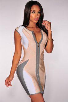 Pastel Zip up Bandage Dress