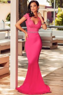 Rosy Lace Embellished Evening Dress