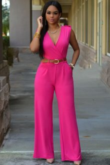 Rose V Neck Jumpsuit