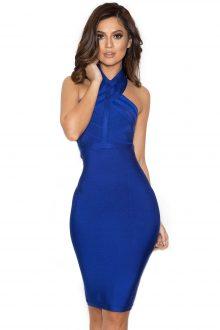 Blue Halter Bandage Dress