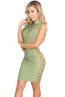 Light Green Lace up Contour Dress