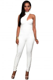 White Choker Open Back Jumpsuit