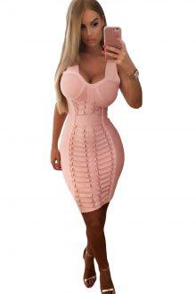 Pink Embellished Midi Dress