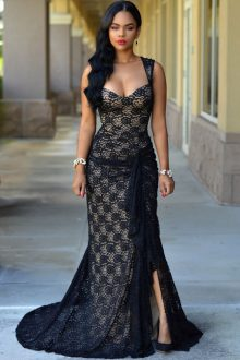 Black Lace Nude Illusion Ruched Gown