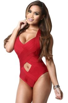 Red One-piece Bandage Swimsuit