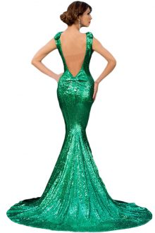 Green Full Sequin Big Bow Accent Dress
