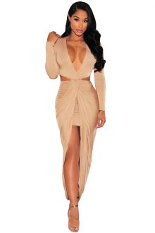Cut Out Drape Slit Long Sleeve Dress