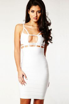 White Tightfitting Hollow out Bandage Dress