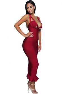 Burgundy Fishtail Luxe Bandage Dress