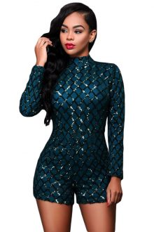Dark Green Long Sleeves Romper