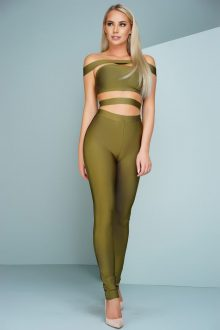 Olive Off The Shoulder Bandage Jumpsuit