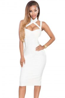 White High Neck Hollow-out Bandage Dress