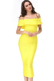 Elegant Off Shoulder Shortsleeve Maxi Yellow Ruffled