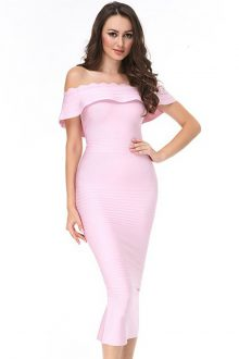 Elegant Off Shoulder Shortsleeve Maxi Pink Peplum Neck