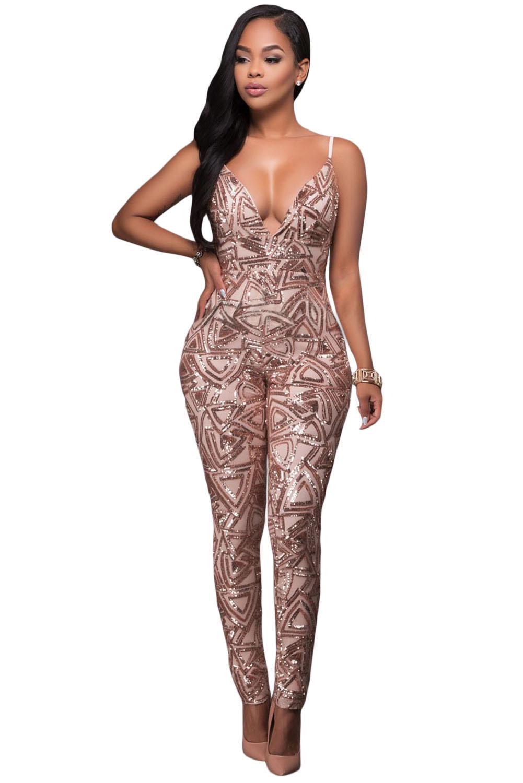Rose Gold Sleeveless V Neck Sequins Jumpsuit Charming Wear