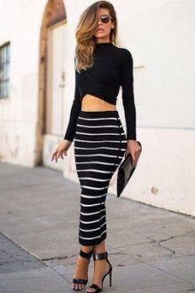 Two-piece Striped Bandage Skirt