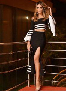 Long Sleeve Maxi Bandage Skirt Set