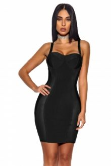 Black Bustier Sheath Bandage Dress
