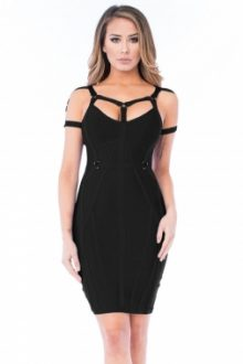Black Strappy Bandage Dress