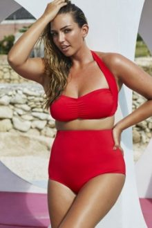 Red Ruched Top High Waist Swimsuit