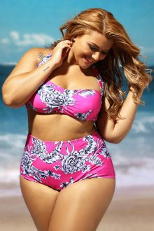 Rosy Floral Print Ruched Top High Waist Swimsuit
