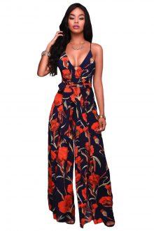 Navy Orange Floral Print Slit Leg Jumpsuit