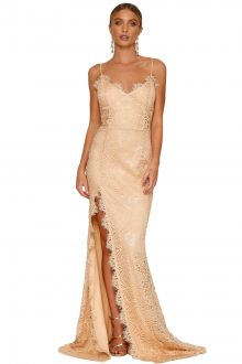 Nude Yum Lacy Lace Bridal Wedding Gown