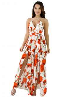 White Orange Floral Print Slit Leg Jumpsuit