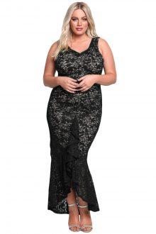 Black Plus Size Floral Lace Ruffle Mermaid Maxi Gown