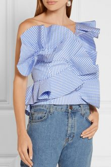 Blue One Shoulder Sleeveless Stripe Ruffle Bodycon Top