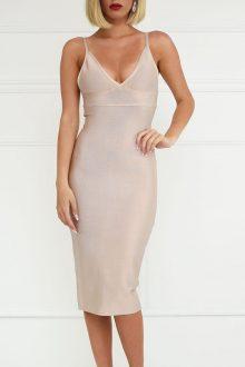 Nude V Neck Open Back Bandage Dress