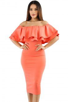Orange Layered Ruffle Off Shoulder Midi Dress
