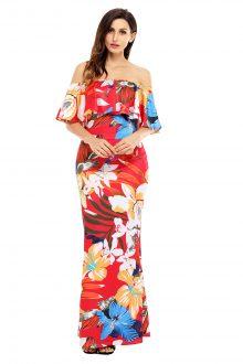 Red Floral Print Off Shoulder Maxi Boho Dress