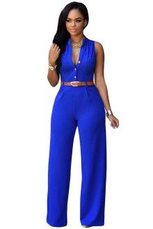 Royal Blue Belted Wide Leg Jumpsuit