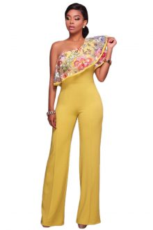 Yellow One Shoulder Ruffle Jumpsuit