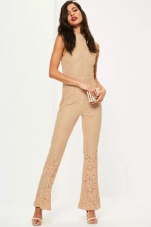 nude open back sleeveless lace jumpsuit