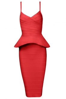 Red Strappy 2 Pieces Peplum Fashion Bandage Dress