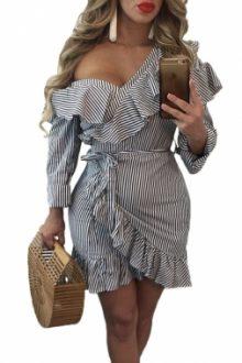 Asymmetrical Ruffle Trim Striped Flare Dress